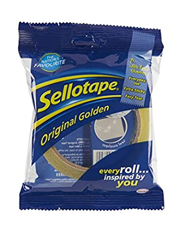 Sellotape Original Golden Sticky Tape / Strong and extra sticky adhesive tape / Applies clear / 1 roll x