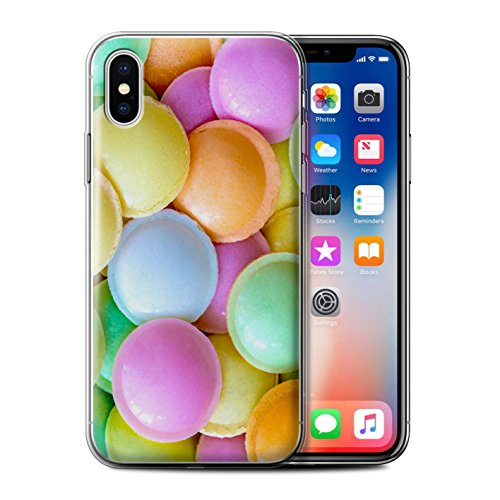 Stuff4 Gel TPU Hülle / Case für Apple iPhone X/10 / Marshmallow Muster / Süßwaren Kollektion Fliegende Untertassen