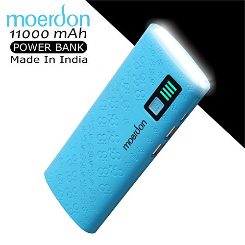 MOERDON 11000mAh PowerBank with Dual USB Output Charger, 1 Year Warranty (Made In India)