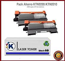 Konver, 2 Compatibles TN2220 Cartuchos de Tóner Láser para Impresoras Brother DCP-7055, DCP-7055W, DCP-7057, DCP-7060D, DCP-7065DN, DCP-7070DW, HL-2130, HL-2132, HL-2135W, HL-2240, HL-2240D, HL-2250DN, HL-2270DW, MFC-7360N, MFC-7460DN, MFC-7460N, MFC