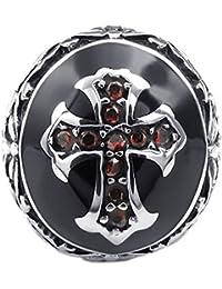 KONOV Joyería Anillo de hombre, Retro Vintage Celta Celtic Cruz, Circonita Acero inoxidable, Color rojo negro plata (con bolsa de regalo)