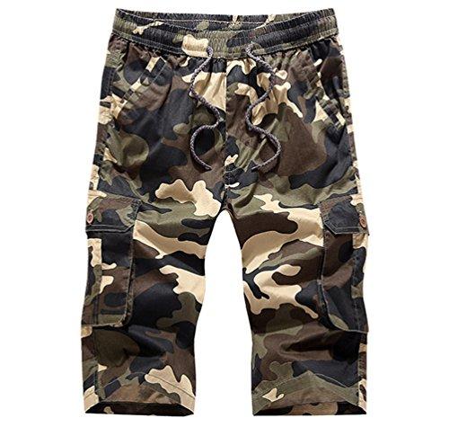 Sronjn Herren Camouflage Kurzhose Kontrastfarbe Casual Bermuda Freizeit  Kurze Hose Khaki