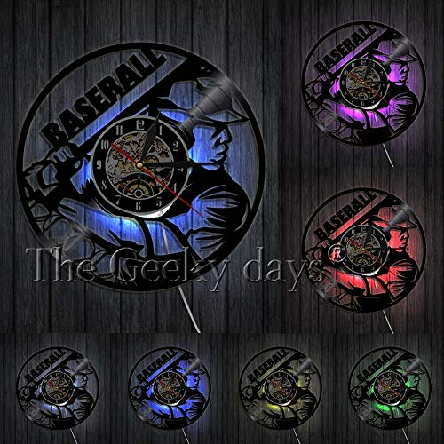 OLILEIO Baseball Uhr Wand Dekor Basis Ball Team Player Schallplatte Wanduhr Baseball Fan Geschenk Idee Softball Schallplatte Wandkunst, Mit LED (Softball-geschenk-ideen)