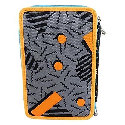 Seven Swag Boy Estuche Escolar Làpices de colores Plumier Triple para Ninos Naranja