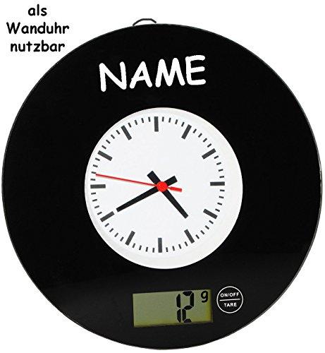 """2 in 1: Küchenwaage & Küchenuhr - """" schwarz / Retro Design """" - incl. Name - Digitalwaage - 5 kg - Uhr analog - LCD Anzeige Digital - Glaswaage / Glas - auch als Wanduhr - elektronische Waage - Küchen Deko / Standwaage Hartglas - rund / Schallplatte - 50er 70er Jahre Vintage"""