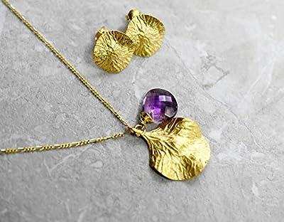 925/ 18 carats SET Collier feuille et améthyste & boucles d'oreilles