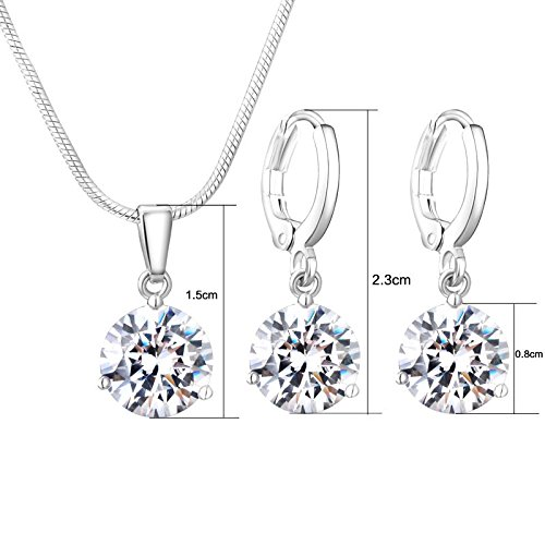Felvy Platinum Plated Swarovski Elements Crystal Necklace Pendant And Earrings For Woman