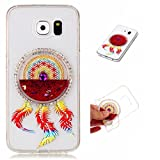 Samsung Galaxy S6 Case Cover MUTOUREN TPU Silicone mobile phone shell Protective Liquid Crystal shockproof Liquid Cover Stylish 3D Creative Red Dreamcatcher Design Quicksand Glitter Clear Crystal Gel Rubber Bumper Protective anti-scratch Clear soft Case-quicksand dreamcatcher 07