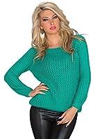 943 Fashion4Young Damen Langarm-Pullover Strick Pulli verfügbar in 7 Farben Gr. 36/38