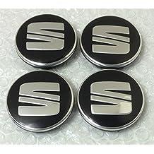 4 tapas con logo de SEAT para tapacubos, 56 mm, en negro y plata