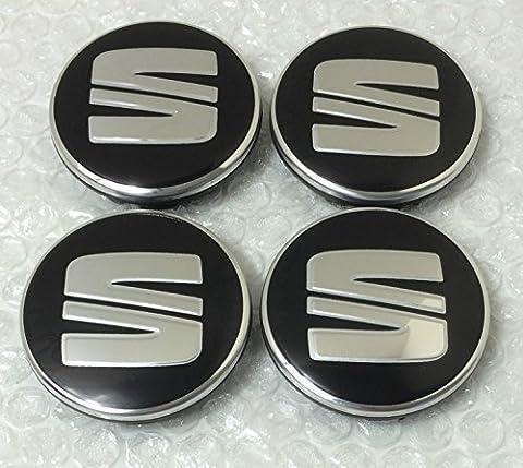 Lot de 4 Logo SEAT 56mm NOIR ARGENT Centre De