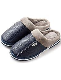 Zapatillas de Estar por casa para Mujer Impermeables de PU Pantuflas Térmicos de Invierno Suave Algodón Casa Zapatos Cómodo Y…
