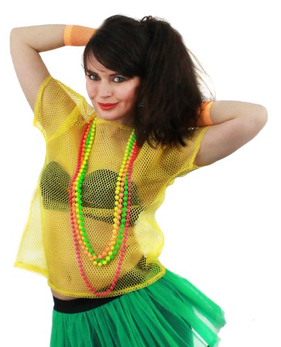 FANCY DRESS ACCESSORY 1980'S RAVE TSHIRT FISHNET ROLLER DISCO 80'S CLUBBING IN 5 COLOURS BLACK, NEON PINK, LIME GREEN, ORANGE, YELLOW (YELLOW) (Roller Disco Fancy Dress Kostüme)