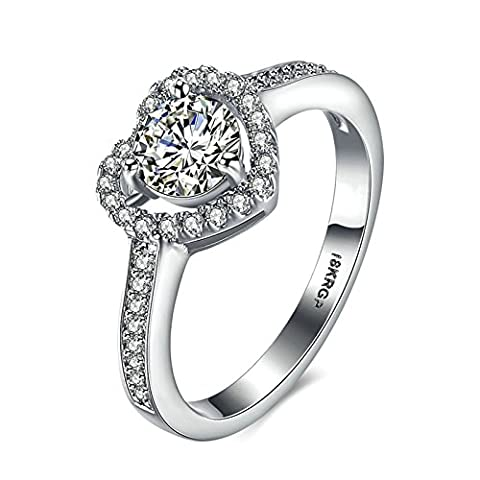 Anazoz Silver Plated Heart Cubic Zirconia Wedding Anniversary Rings for Women Size P 1/2