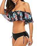 Costume da bagno donna intero sexy Bikini Donne mare push up Spalla increspatura Impostato ImbottitoReggiseno con laccetti Costumi da bagno Swimsuit Swimwear Set Rawdah (Nero, XL)