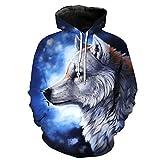 WEIYIGE Sweatshirt 3D Star Wolf Print Kapuzenpullover mit Rollkragen Herren Cap Herren Sweater - L