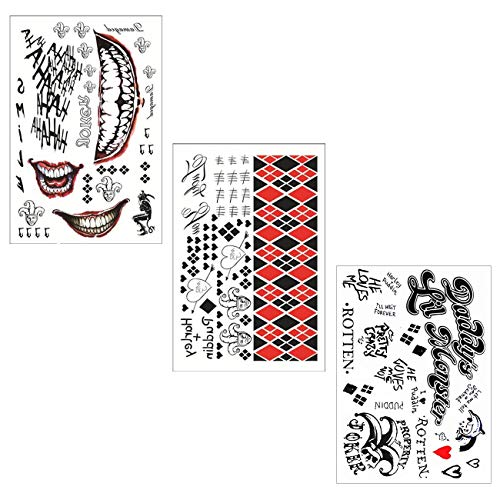 012aa9a1b WorldFun HQ & The Joker Sticker Temporary Tattoo for Suicide Squad Costume  Halloween Fancy Dress Cosplay