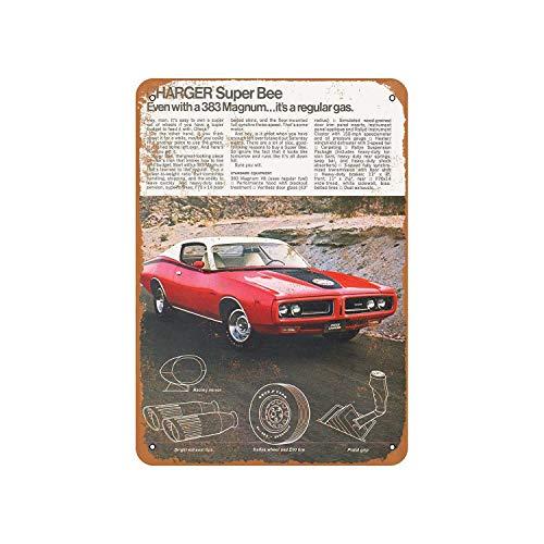 Fhdang Decor Vintage Pattern 1971 Dodge Charger Super Bee 383 Magnum Vintage Look Aluminium Schild Metallschild 8x12 inches Multi