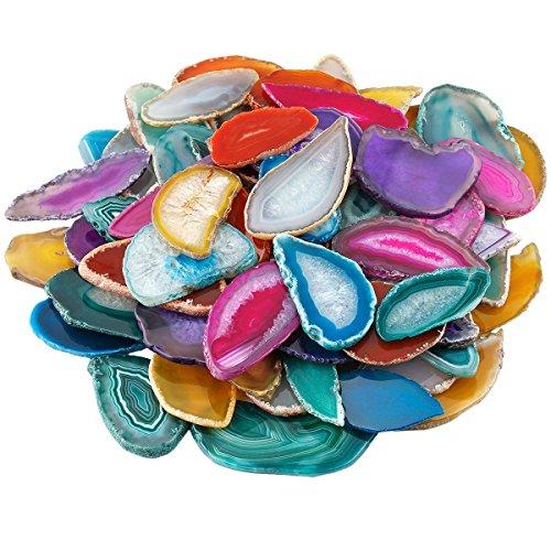 Mookaitedecor - fetta di geode agata, pietra di cristallo, sottobicchieri da tavolo (confezione da 10), pietra, non foré/assorti couleurs aléatoires