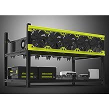 Tanli Gehäusegestell für Mining-Rig, Aluminium, stapelbar, offen, Platz für 6GPU, 5Lüfter, für die Generierung von ETH/ETC/ZCash/Monero/BTC, Hervorragendes Design für Luftkonvektion gelb gelb