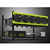 Tanli Open Air Mining Rig Aluminum Stackable Frame 6 GPU Case With 5 Fans For ETH/ETC/ ZCash/Monero/BTC Excellent air convection design Yellow