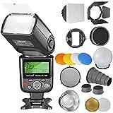 Neewer® PRO i-TTL Flash *lujoso Kit* para NIKON DSLR D7100 D7000 D5300 D5200 D5100 D5000 D3200 D3100 D3300 D90 D800 D700 D300 D300S D610, D600, D4 D3S D3X D3 D200 N90S F5 F6 F100 F90 F90X D4S D SLR cámara Incluye: (1)Neewer 750II iTTL Flash para Nikon+ kit de Accesorios de Flash Speedlite con Barndoor, Snoot, Honeycomb, Estándar Reflector, Pelota de difusor, Gel de color (naranja, azul, blanco, amarillo), ventana de luz, Universal Adpater de Monte