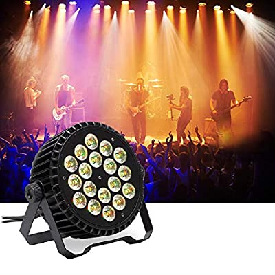 U`King 18 LED Par Can Disco Lights 180W Powerful LED Stage Light by DMX Control Sound Activated RGBW Rainbow Effect for DJ Club Party Stage Lighting Events