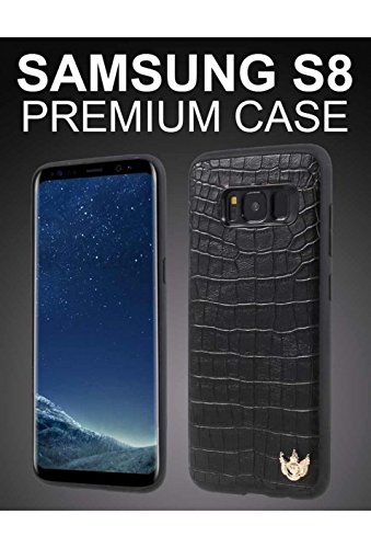 Sanchar's Natural Real Genuine Leather Case For Samsung Galaxy S8 Luxury Cases 3D Crocodile Skin Pattern Back Cover for Samsung Galaxy S8 – Black