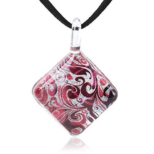 Chuvora Halskette mit Anhänger, handgeblasenes Glas, abstrakte Blume, 43,3-48,3 cm, Rot/silberfarben