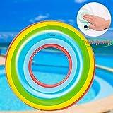 SPECOOL Press-Schwimmring, eingebauter Inflator PVC Aufblasbare Wassermelone Drücken Sie einfach den Pump Inflator an der Luftentlastungsdüse Pool-Party Water Fun (Rainbow 60)