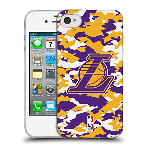 Head Case Designs Offizielle NBA Camouflage 2018/19 Los Angeles Lakers Soft Gel Huelle kompatibel mit iPhone 4 / iPhone 4S (Iphone 4s Cam)