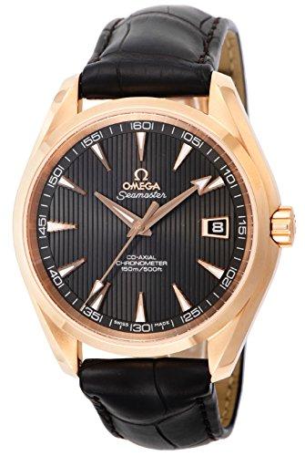 Omega Seamaster Aqua Terra 150M / orologio uomo / quadrante marrone teak / cassa oro rosa / bracciale pelle