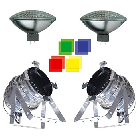 2 x Floor Mount PAR64 Cans with Bulbs & Coloured Filters