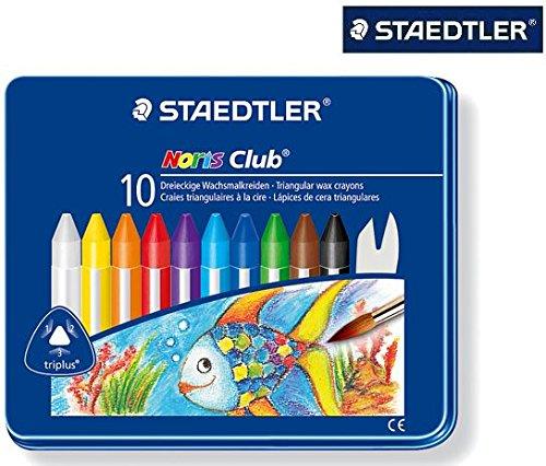 Staedtler-Noris-Club-228-Dreikantige-Wachsmalkreide-im-Metalletui-mit-10-Farben