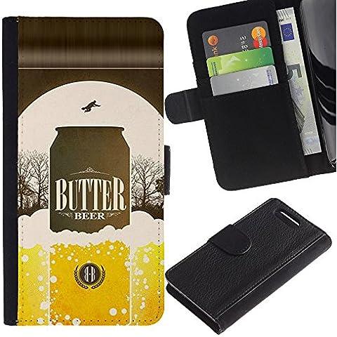 UPPERHAND ( Non Per Xperia Z1 ) Stile Immagine Portafoglio Carte PELLE FLIP TPU CUSTODIA CASE PROTEZIONE COVER IN GUSCIO Per Sony Xperia Z1 Compact D5503 - birra lattina bottiglia dorata annuncio manifesto