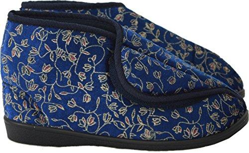 Neu Damen Klettverschlussband Waschmaschinenfest Weite Passform Diabetiker Orthopédique Pantoffeln Schuhe UK Größen 3-8 Navy/High