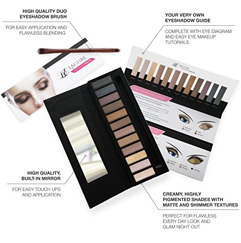 Lagure Eyeshadow Palette - 12 Colour Professional Eye Palette - Highly Pigmented for Matte Naked Natural Nude Metallic or Smokey Eye Makeup - Duo Eyeshadow Brush and Step-by-Step Eyeshadow Makeup Guide Included