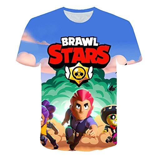 C&c-star (T-Shirt Sommer Freizeit 3D-Druck Spielmuster Kind Erwachsener Rundhals Kurzarm (160CM, C))