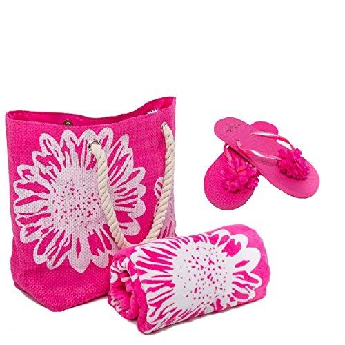 Airee Fairee Strandtasche Damen (46 x 33 cms) +Strandtuch (75 x 150 cms) + Zehentrenner 3 STÜCK SET Blumenmuster Groß(EU 40-41), Rosa (Große Gerippte Handtücher)