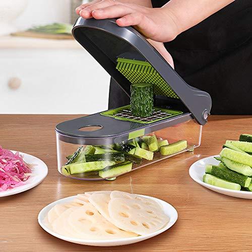 Gemüseschneider mit 6 Austauschbare Klingen - Gemüse Schneider Würfel Hobel - Gemüsehobel Set mit Edelstahl Klingen - Zerkleinerer Multischneider (1500ML)