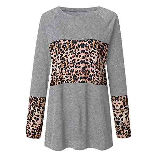 Kolila Lose Tops Oberteile Damenmode Leopardenmuster Spleißen Rundhals Langarmshirts Damen Freizeit T-Shirt Bluse Tunika