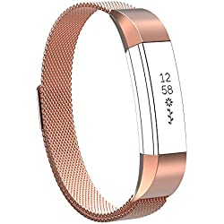 SnowCinda Bracelet pour Fitbit Alta et Fitbit Alta HR Montres,Bracelet Reglable de Remplacment en Acier Inoxydable Band de Rechange Milanaise avec Fermoir Magnetique Rose-Or S