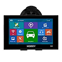 Xgody 520 Portable Car Truck GPS Navigation 5 Inch Sat Nav Touch Screen Built-in 8GB ROM Lifetime Map Spoken Turn-By-Turn Directions with Sun Shade Vehicle Navigator