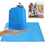 LIVEHITOP Pocket Blanket Picnic Beach Mat XXL Large 210x200cm, Ultra Light Portable Oxford Fabric Outdoor Blankets with Carry Bag Pegs for BBQ Camping Family, 82.7''x78.7''(Blue)