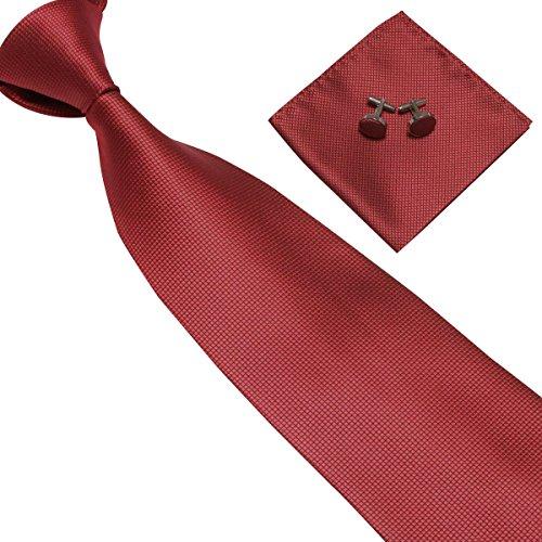 Panegy Herren Krawatten Set mit ManschettenKnöpfe Einstecktuch fröhliche Farben Krawatte einfache Krawatten Business Schlips - Rot