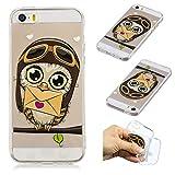 SpiritSun iPhone 5 Hülle, iPhone SE Schutzhülle, TPU Flexible Silikon Case Etui Schutz Durchsichtige Tasche Transparente mit Muster Handyhülle Clear Cover Motiv-Umschlag Eule