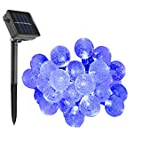 KEEDA Waterproof Solar Crystal Ball Lights, 30LED 20ft/6m, Globe Ball Fairy String Lights, Indoor Outdoor Christmas Decorative Ball Lighting/Lights, Solar Lights String for Garden Outdoor Christmas Party Decorations Lights (Blue)