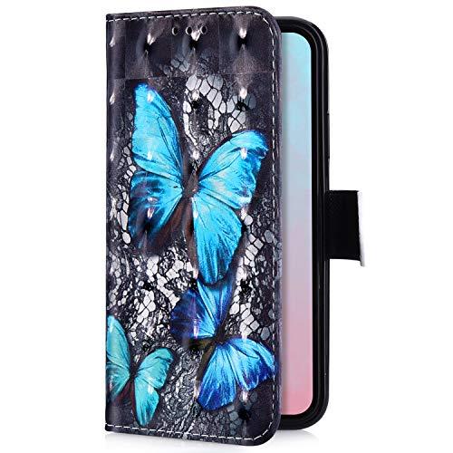 Uposao Kompatibel mit Samsung Galaxy J4 2018 Handyhülle Handytasche Luxus Glitzer Bling Glänzend Bunt Muster Schutzhülle Flip Case Brieftasche Klapphülle Leder Hülle Cover,Blau Schmetterling
