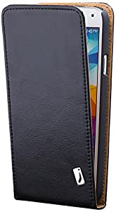 Samsung Galaxy S5 Neo & S5 | iCues Flip Case Black | [Screen Protector Included] Leather Cover Book Folio Style Magnetic Flip Wallet