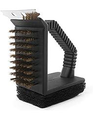 QHGstore 3 en 1 Limpiador de aire libre Parrilla Parrilla barbacoa del cepillo de alambre de cobre Triángulo del cepillo
